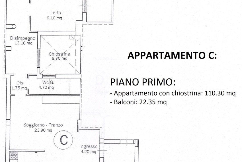 PLANIMETRIA APPARTAMENTO C - PRIMO PIANO
